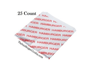 Hamburger Bags Circus Birthday Party Fair Carnival Concession Stand Supplies 25 Count Foil Wrappers