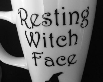 Resting witch face, fall mug, Halloween cup, Halloween mug, Halloween coffee cup, witch mug, witch cup, witch face mug