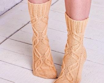 Cable wool socks Peach knitted socks Girls boot socks Warm wool winter socks Peach leg warmers Cable knit socks Handmade socks Cozy gift