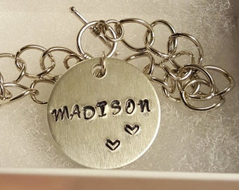 Personalized, Hand Stamped Metal Charm with Bracelet, Customizable