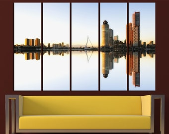 Rotterdam Skyline Canvas Wall Art Set Cityscape Wall Art Skyline Canvas Art Cityscape Canvas Print Cityscape Wall Decor Rotterdam Wall Art