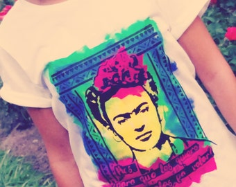Frida Khalo white T-shirt with inspirational quote