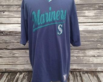 Vintage 90s SEATTLE MARINERS v-neck T Shirt - XL - oversized