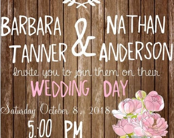 Rustic Wedding Invitation and RSVP