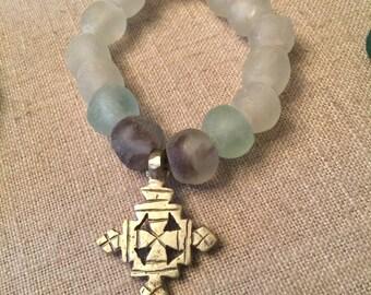 Ethiopian glass beaded bracelet with Coptic Cross