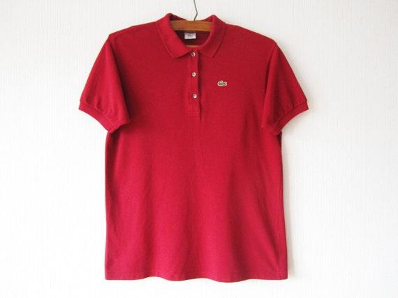 vintage red lacoste polo shirt short sleeve summer chemise red. Black Bedroom Furniture Sets. Home Design Ideas