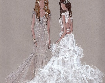 """Blossom & Belle - Prints - 8""""x10"""" - Various Sizes - Wall Art - Bridal Illustration - Contact for Custom"""