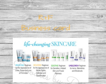 Rodan and Fields Business Card - Product Images on Back - Printable - Instant Download - Rodan + Fields