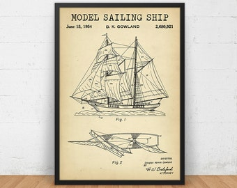 Model Sailing Ship Patent Print, 4 Colors Digital Download, Nautical decor, Ship Blueprint, Bathroom Decor, Nursery Wall Art Patent Poster