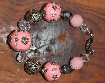 Pink Indian beaded bracelet