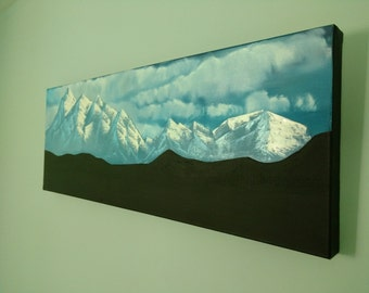 Landscape Painting oil on canvas 80x30cm silhouette mountains and dreamy clouds