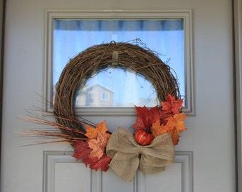 "Fall Wreath 18"" - Fall Leaves Pumpkin Burlap Bow Grapevine Home Decor"