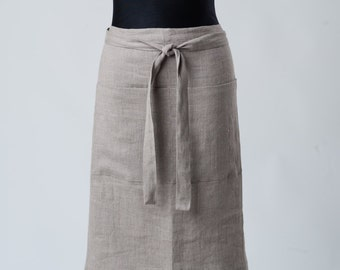 Stone Washed Linen Apron/Organic gray wrap Apron With 2 Pockets/ Eco Friendly gift idea