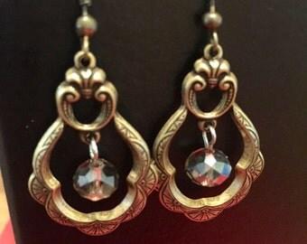 Dangly Victorian Earrings, Brass Dangly Earrings, Statement Earrings