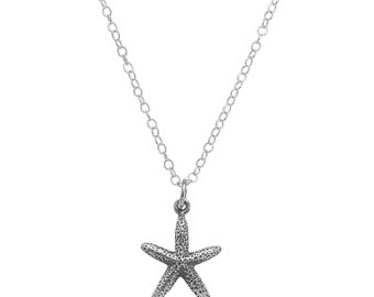 Skinny Starfish Charm Necklace / Sterling Silver