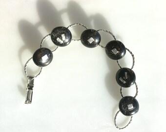 Black Fused Glass Bracelet