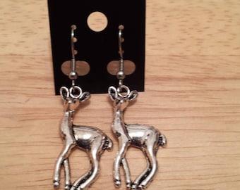 Deer deer Silver Earring / Earring deer animal silver color
