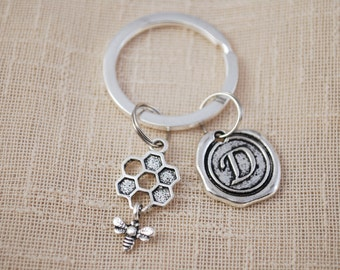 Honeycomb keyring, FREE SHIPPING, personalized bee key chain, Christmas gift, silver keychain, silver key chain