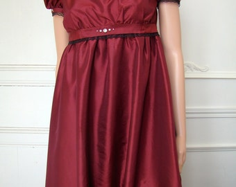 dress empire French end 18th style Josephine in Burgundy taffeta