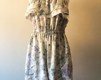 VINTAGE SLEEVELESS ROMPER -- 1970's Floral with Ruffle at Bust