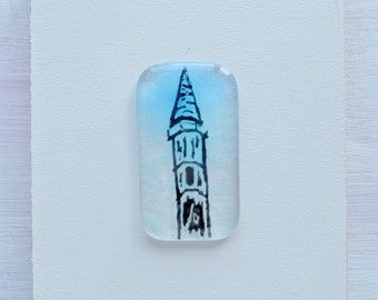 Tower in the Sky Fused Glass Tablet