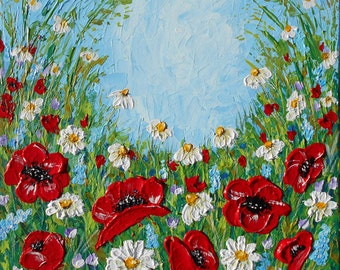 Abstract Floral Acrylic Painting, Original Canvas Art, Poppies Painting, Red Flowers, Palette Knife, Textured Painting, Impasto, Made2Order