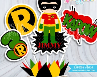 Robin centerpieces, Superhero centerpiece, superheroes Birthday Party, Batman super boy digital decor supplies cutest center PERSONALIZED