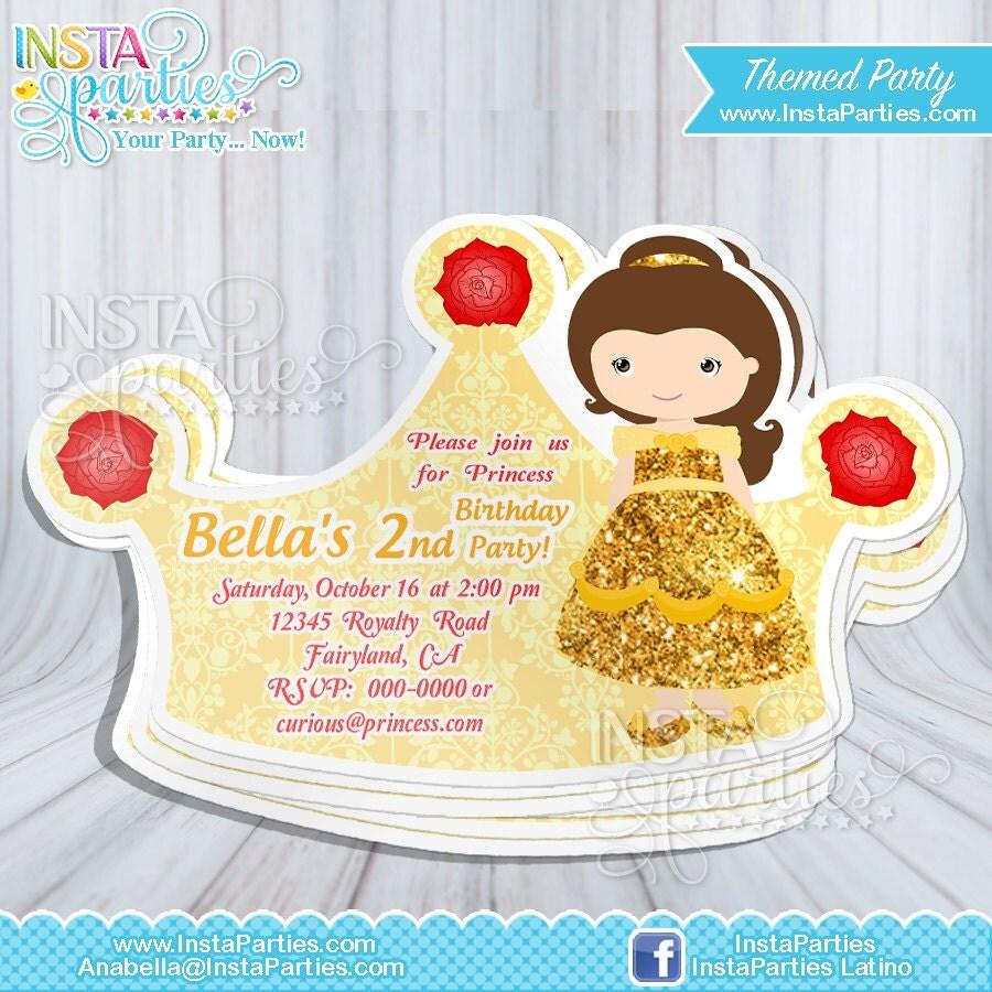 Invitaciones Princesas Bella Fiesta Cumple Corona Tiara