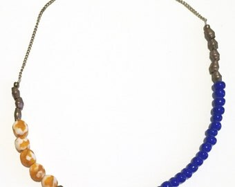 African trading bead and frosted orange necklace