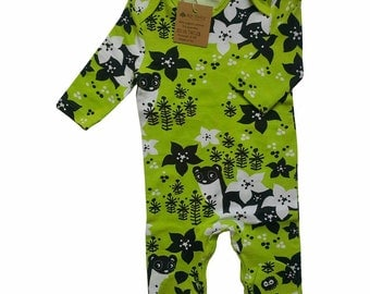 Apple Green Organic Cotton Baby Romper ,Sleepsuit- Organic Cotton Baby Clothes - Organic Cotton Baby Clothing