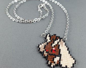 Lopunny Necklace - Pixel Necklace Pokemon Necklace Pixel Jewelry 8 bit Necklace Seed Bead Neklace Video Game Necklace Ferret Necklace
