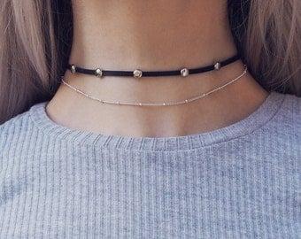 ZARINA. Studded Leather & Chain Choker