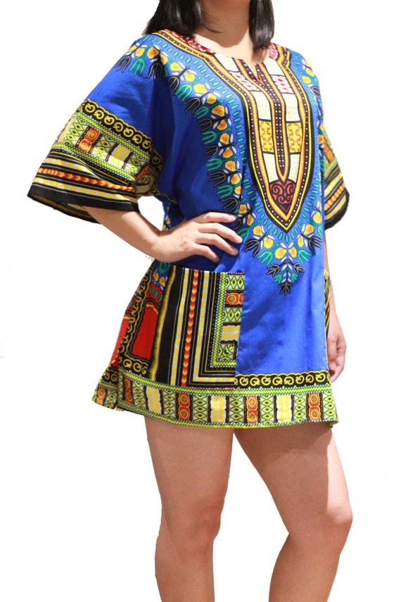 Dashiki african shirt or dress for men or women dark blue for Best dress shirts nyc