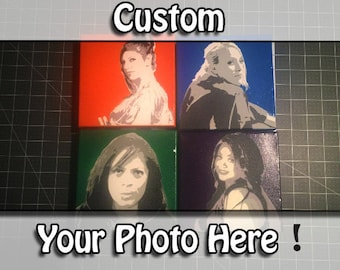 Personalized Stencil on Canvas - Custom Made to Order - 6 in x 6 in - Your customized stencil spray art on canvas!!
