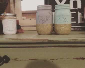 Glitter Ball Mason jars