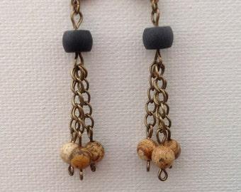 Earrings, Dangle earrings, Picture jasper, Black onyx, Antique gold, Chain, Jewelry, Gift, E0816