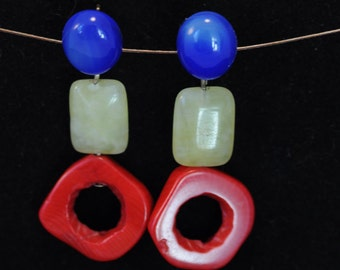 Gems, blue dyed agate cabochon, yellow jade and Red coral earrings