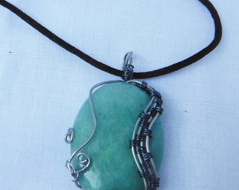 Lime Green Wire Wrapped Stone Necklace