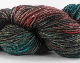 RHINEBECK, Hand Dyed DK Yarn, Soft Superwash Merino, Teal Rust Sage Yarn, Turquoise Brown Yarn, Indie Dyed Variegated