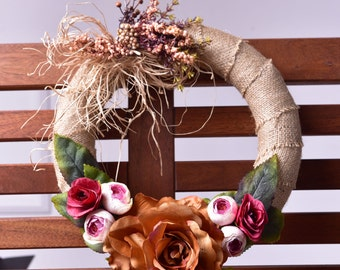 Autumn Rose Door Wreath