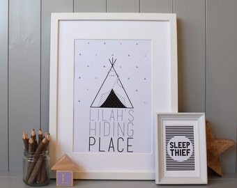 Tipi Hiding Place PrintWall Art  (A4) - Customised Personalised for Nursery/Child's Room (Tepee/Teepee) Gift