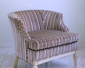 mid century barrel chair HOLLYWOOD REGENCY french county candy striped HARLEQUIN accent boudoir chair