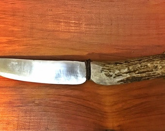 Deer antler Hunting knife HIGH CARBON Steel Hand forged