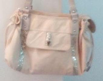 LANCASTER leather bag and beige satin fabrics and rhinestones