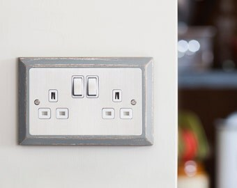 Double Plug Socket - Chamfered - Stainless Steel - 13A Double Plug