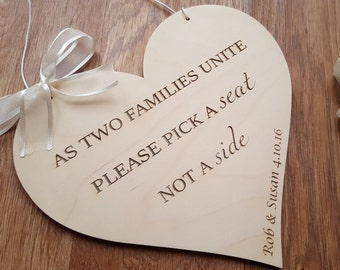 Personalised 'Pick a Seat Not a Side' Wooden Wedding Bride and Groom Church Wood Sign Door Hanger Decoration Plaque