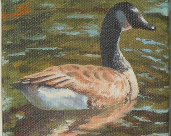 Small Acrylic Bird Painting Canadian Goose Original Laurie Lynn Lawton Canvas Wildlife Art Miniature Realism Gifts Under 50 Cabin Art