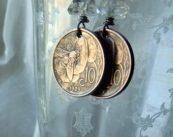 Vintage 1929 Italy 10 Centesimi Italian Bumble Bee Flower Coin Earrings Repurposed Coins Herkimer