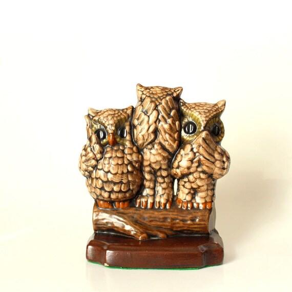 Ceramic owl statue hear no evil see no evil speak no evil - Hear no evil owls ceramic ...