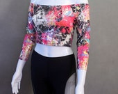 MADE TO ORDER Limited Edition Multi-Colored Off the Shoulder Crop Top